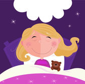 Sleeping and dreaming girl in pajama — Stock Vector