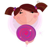 Small girl with sweet lollipop — Stock Vector