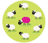 White and pink sheep — Stock Vector