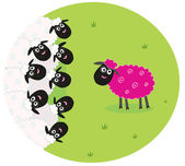 Pink and white sheep — Stock Vector
