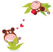 Monkey male and female in love — Stock Vector