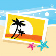 Vacation photo with tropical palms — Stock Vector