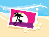 Vacation photo in sand. Vector — Stock Vector