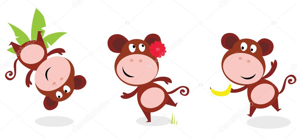 ... monkey and monkey with banana. Vector cartoon illustration of funny