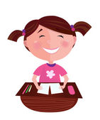 Back to school: Happy smiling small girl learning in classroom — Stock Vector