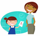 Back to school: Small cute child come to home with good grades — Vector de stock