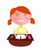 Back to school: Happy red hair girl in classroom — Stock Vector