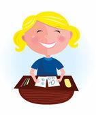 Back to school: Happy blond hair girl in classroom — Vetor de Stock