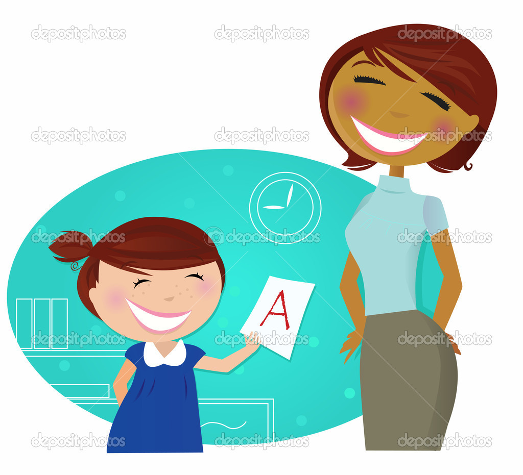 back to school small cute child come to home good grades back to school small cute child come to home good grades stock illustration