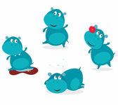 Cute happy blue hippopotamus in four poses — Stock Vector