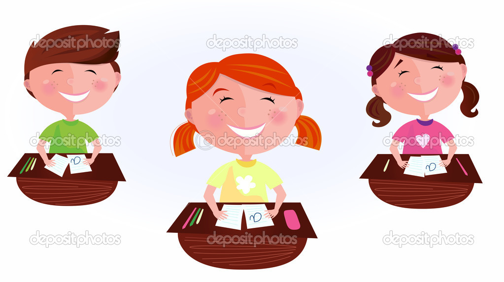 School is fun! Happy Boy and two girls sitting  in school classroom. Stylized vector cartoon illustration of classmates.  Stock Vector #3290096