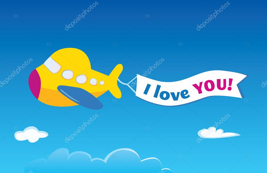 Vector airplane. Write your own text into banner! — Vettoriali Stock  #3297602
