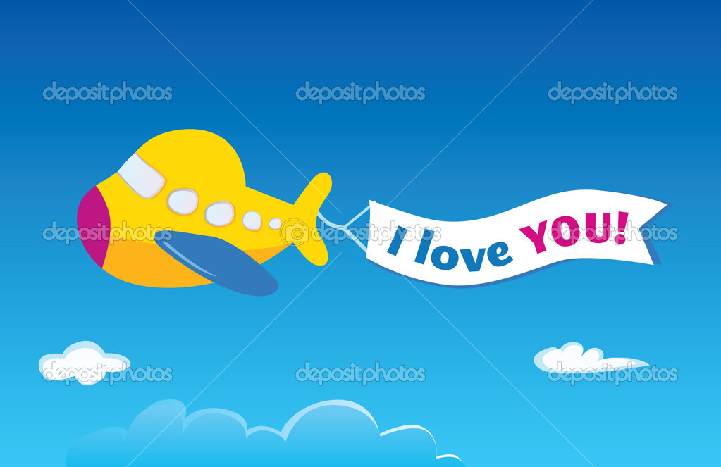 Vector airplane. Write your own text into banner!  Imagens vectoriais em stock #3297602