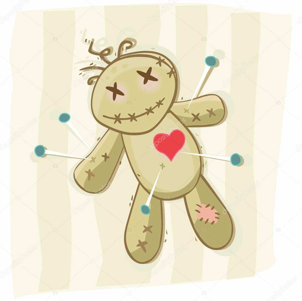Terrible black magic voodoo doll. Vector Illustration. — Stock Vector #3297696