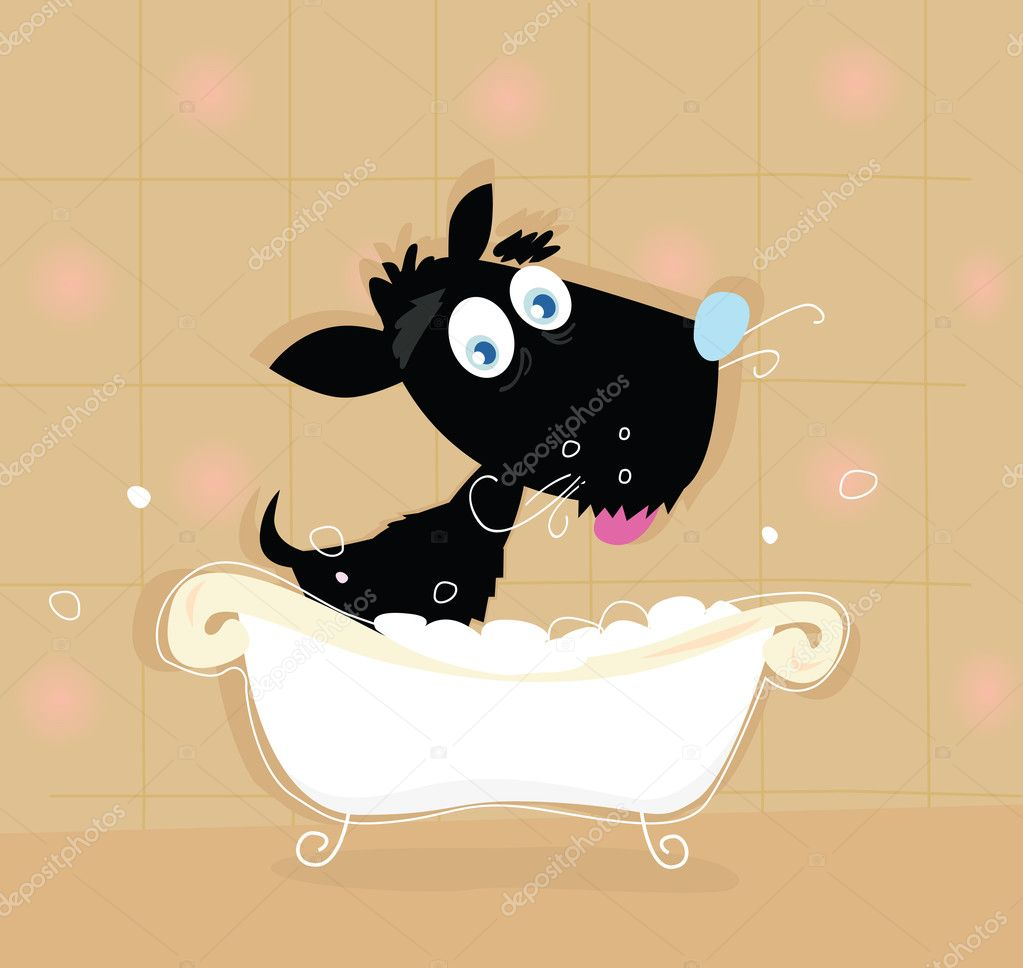 Bathing black small doggie. VECTOR ILLUSTRATION.  Stock Vector #3298764