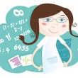 Stock Vector: Math girl