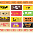 Vintage cinema tickets — Vector de stock