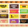 Vintage cinema tickets — Stockvectorbeeld