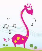 Singing giraffe — Stock Vector