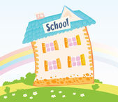 Little Schoolhouse in nature — Stock Vector