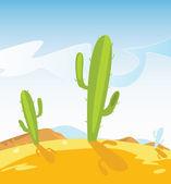 Western desert with Cactus plants — Stock Vector