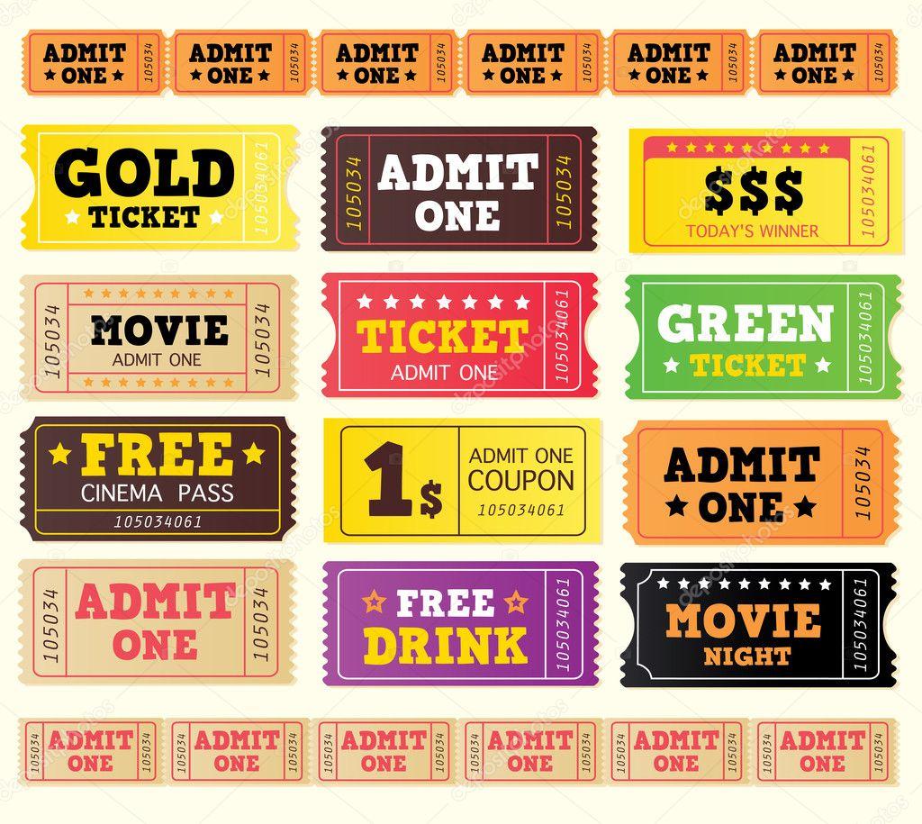 Vintage cinema tickets — Stock Vector © BEEANDGLOW #3308482
