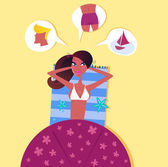 Single sexy woman on the beach dreaming about perfect man — Stock Vector