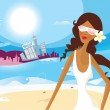 Sexy Summer Girl On Vacation — Stock Vector