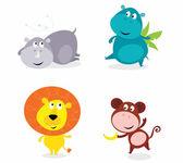 Cute safari animals set - hippo, rhino, lion and monkey — Stock Vector