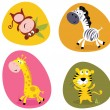 Illustration set of cute safari animals — Stock Vector