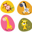 Illustration set of cute safari animals - Stock Vector