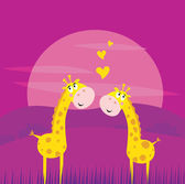 Two yellow african giraffes in love — Stock Vector
