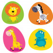 Cute safari animals set - lion, zebra, giraffe and hippo — Stock Vector