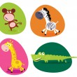 Cute safari animals set - monkey, zebra, giraffe and crocodile — Vettoriali Stock