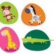 Cute safari animals set - monkey, zebra, giraffe and crocodile — Stock Vector #3422030