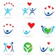 Love, relationship and community icons — Stock Vector