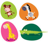 Cute safari animals set - monkey, zebra, giraffe and crocodile — Stock Vector