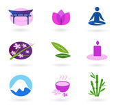 Wellness, relaxation and yoga icon set. Vector — Stock Vector