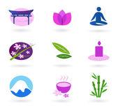 Bienestar, relajación y yoga conjunto de iconos. vector — Vector de stock