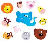 Cute smiling animal head icons ( emoticons ) — Vector de stock