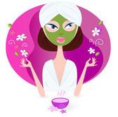 Health and spa: girl enjoying aromatherapy — Stock Vector