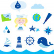 Nautic, sailor and adventure icons - blue - Stock Vector
