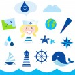 Stock Vector: Nautic, sailor and adventure icons - blue
