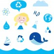 Recycle water: school nautical , ocean, water and nature icons — Stock Vector