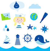 Nautic, sailor and adventure icons - blue — Stock Vector