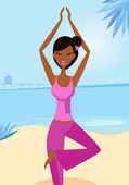 Woman in yoga tree pose on the sunny beach — Stock Vector