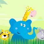 söt safari djungeldjur - tiger, elefant, giraff och noshörning — Stockvektor