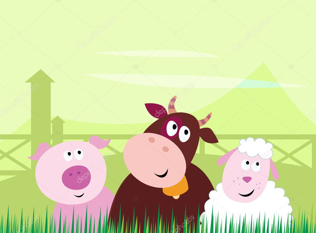 Farm animals - Pig, Cow and Sheep. Vector Illustration.  Stock Vector #3493526