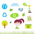 Recycle, nature and ecology icons isolated on white background - Stock Vector