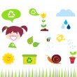 Agriculture, garden and nature icons isolated on white background — Stock Vector